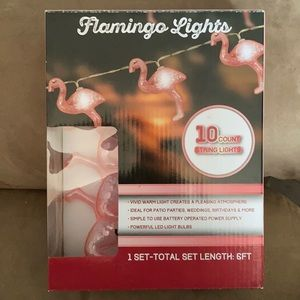 Flamingo Shaped 10 Count String Lights 1 Set NEW